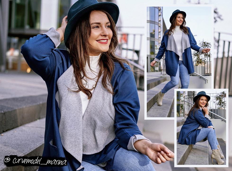 Marina stylt unseren Cardiwrap mit dünnem Rollkragenpullover und Jeans